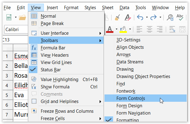 JCH Accessing Form Control Toolbar in Calc