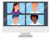 Just Click Here Fun Video Conferencing image of people on screens