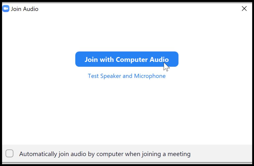 Zoom use computer audio
