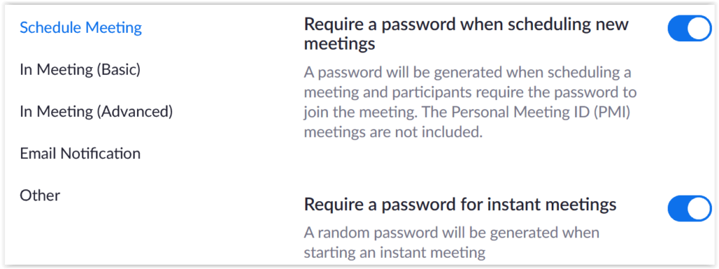 Zoom default password