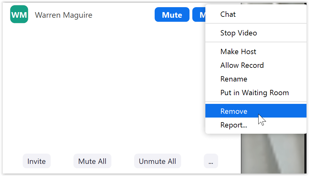 Remove attendee (keep meeting safe and secure)