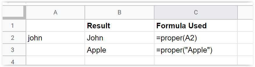 Just Click Here Google Sheets Proper Function example