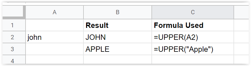 Just Click Here Google Sheets Upper function example