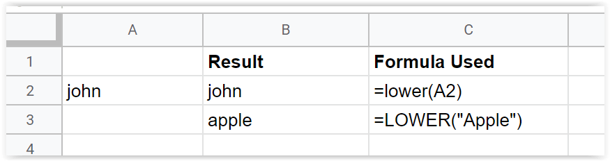 Just Click Here Google Sheets lower function example