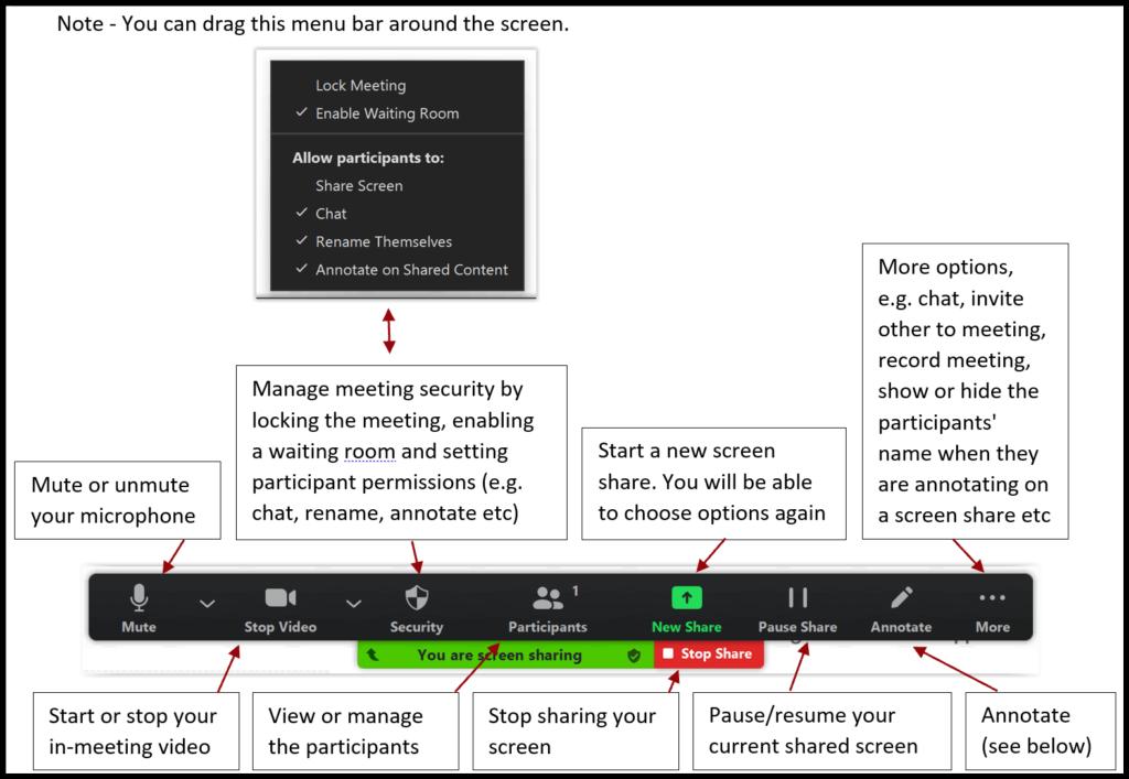JCH Share screen menu bar in Zoom