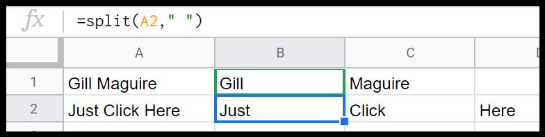 Split function in Sheets