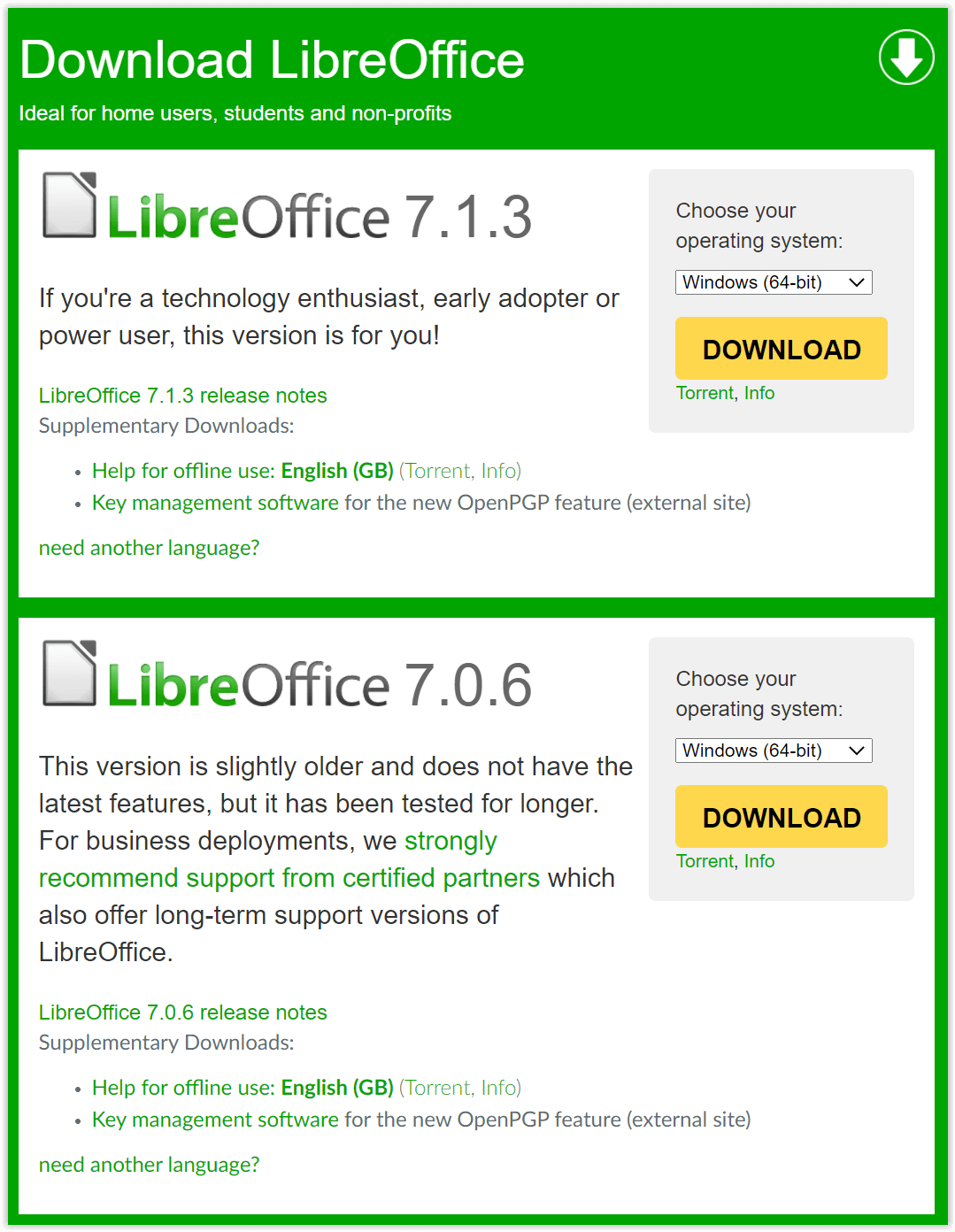 LibreOffice Download Versions
