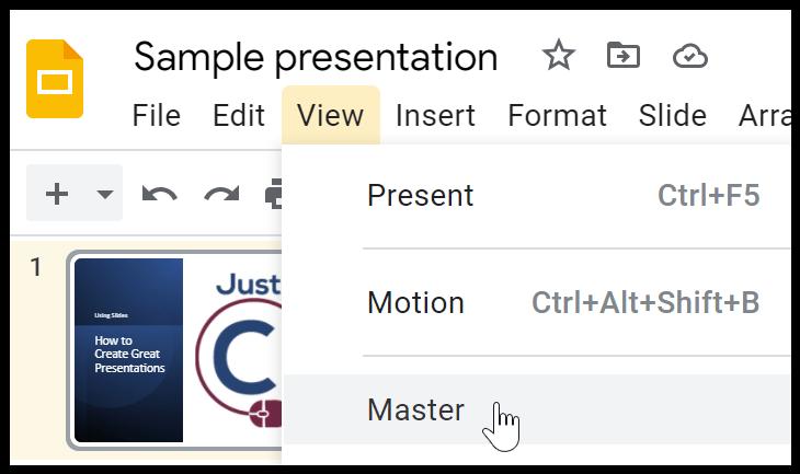 Google Slides View Master
