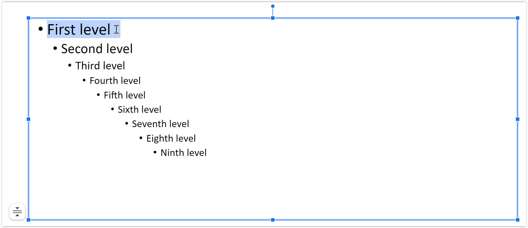 First level bullets highlighted