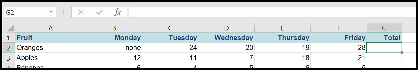 Autosum in Excel