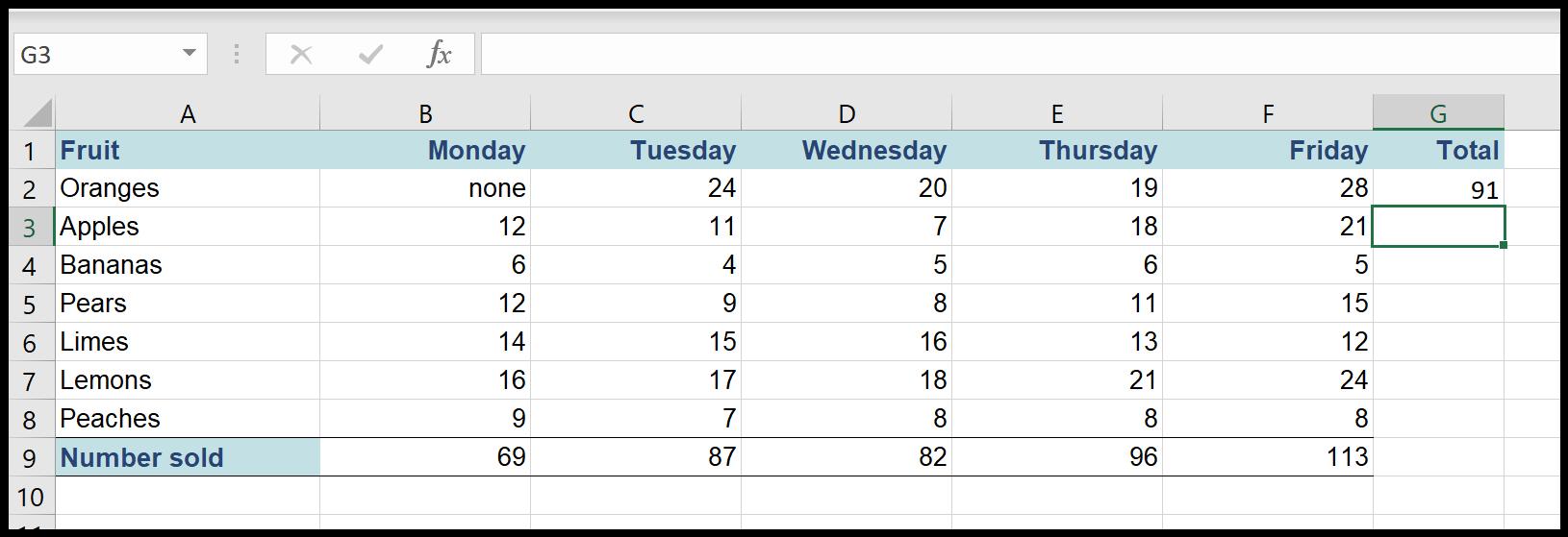 Autosum total in Excel