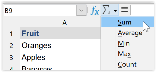 LibreOffice Calc AutoSum icon