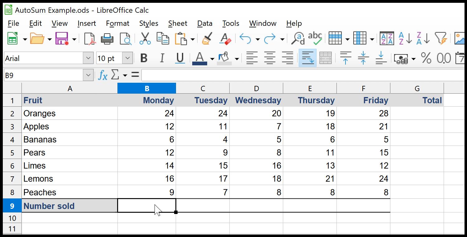 LibreOffice Calc AutoSum
