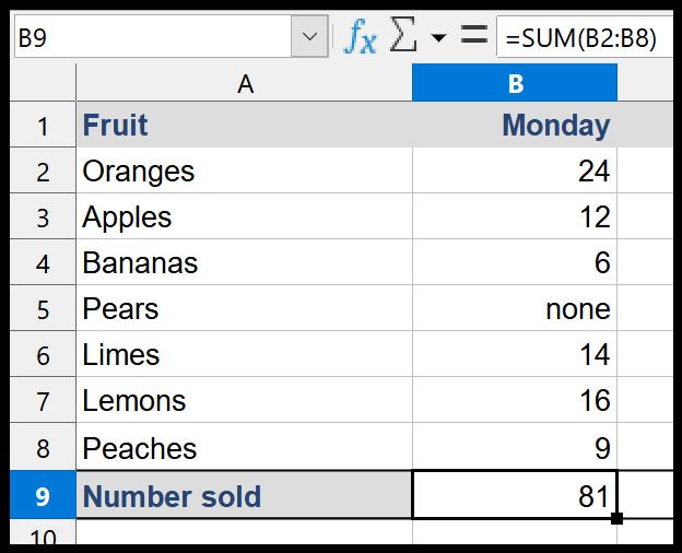 LibreOffice Calc Autosum containing text