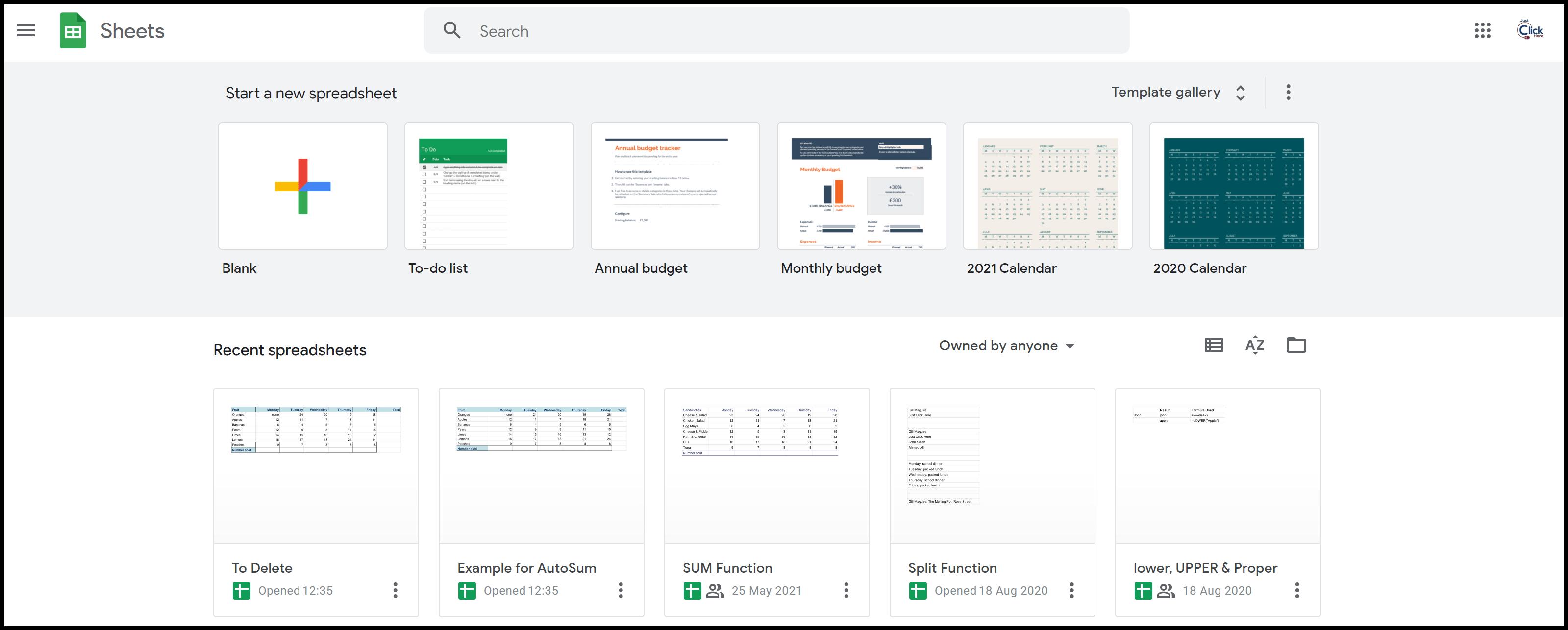 Sheets Homepage