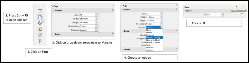 Change Margins using Sidebar in LibreOffice Writer
