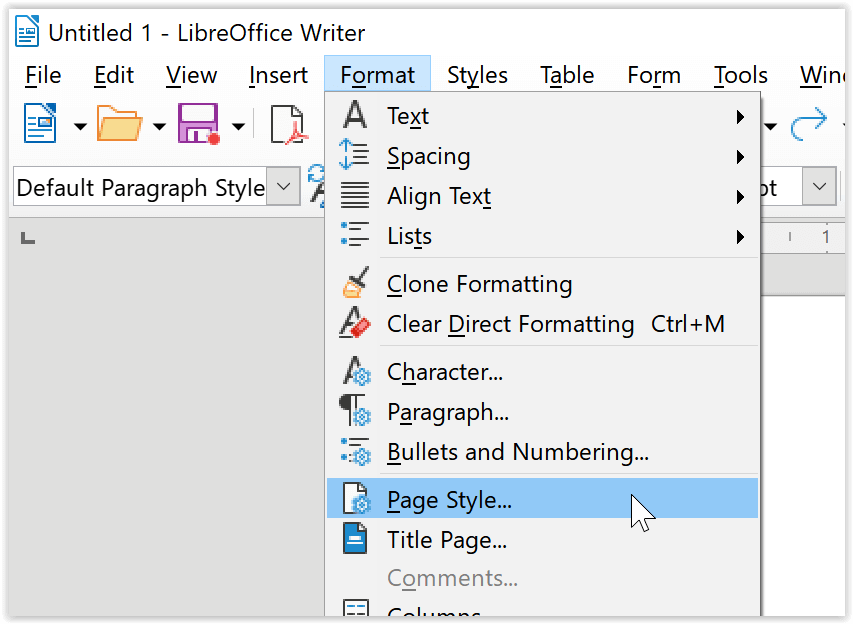 Format Page Style