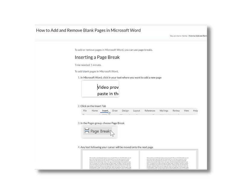 Add & Remove blank pages in Word