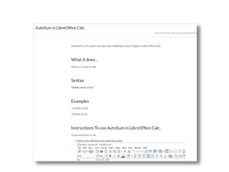 AutoSum in LibreOffice Calc