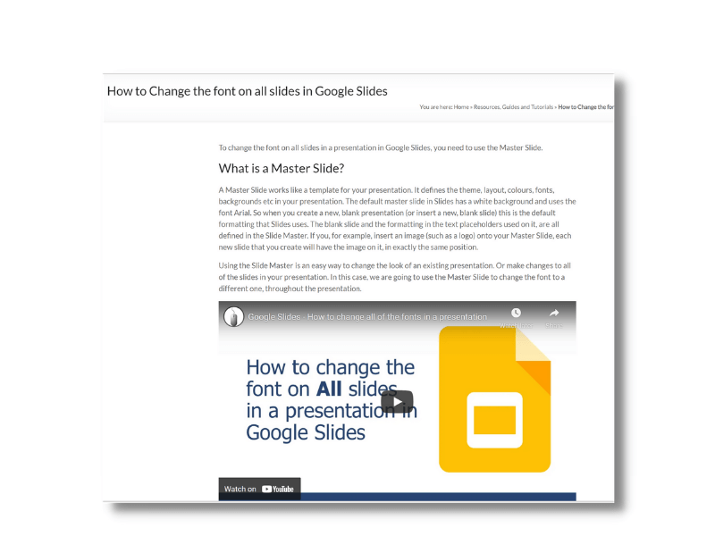How to change the font on all slides in a presentation (using Master Slides)