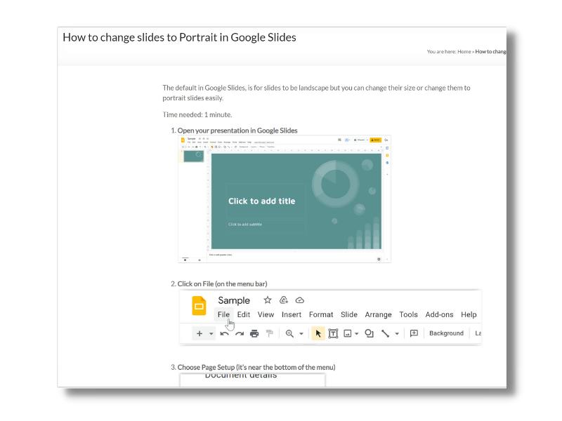 Google Slides Orientation & Size