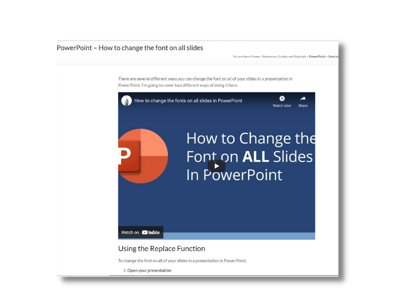 How to change the font on all slides in a presentation