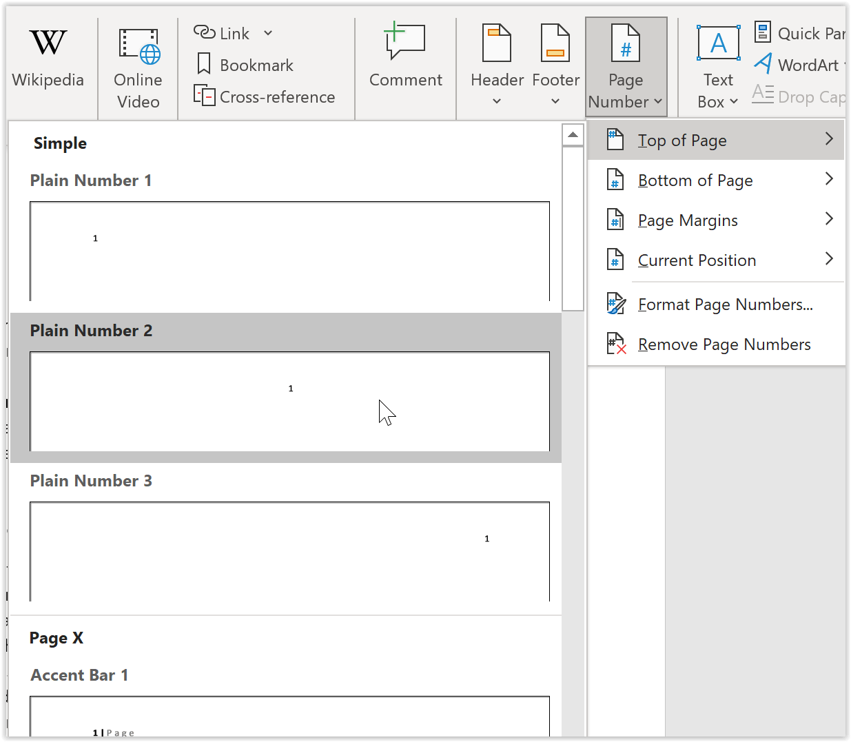 Insert page numbers in word