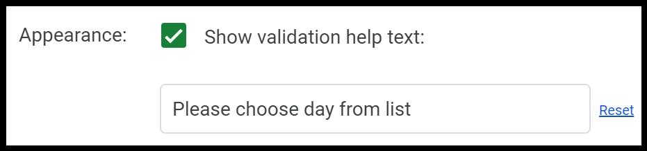 Validation text