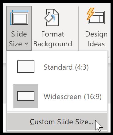 PowerPoint custom Slide size
