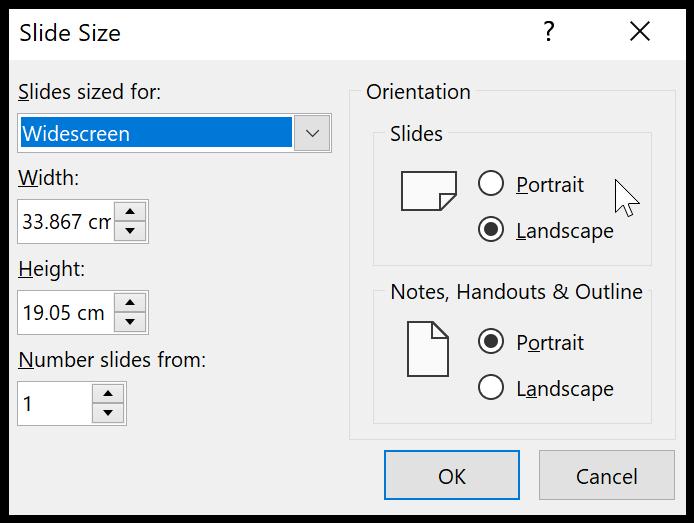 Slide size dialogue