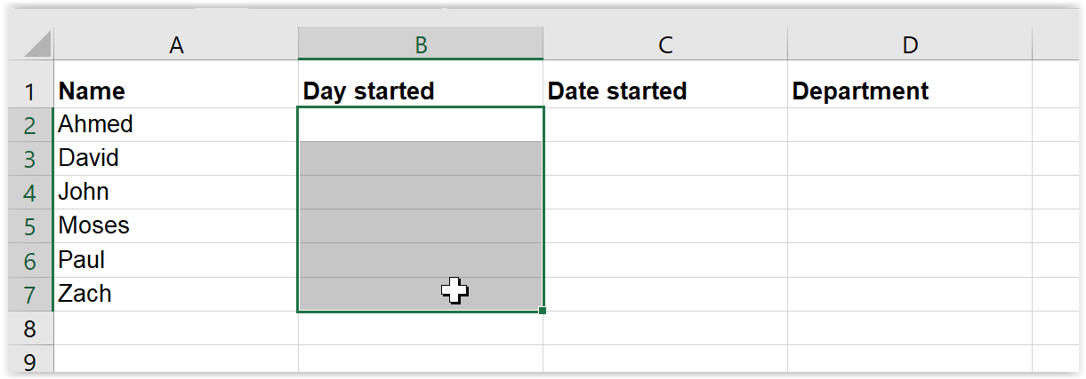 Select cells for drop down list in Excel