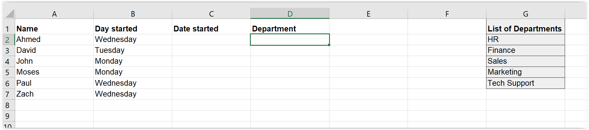 Pre typed list for drop-down