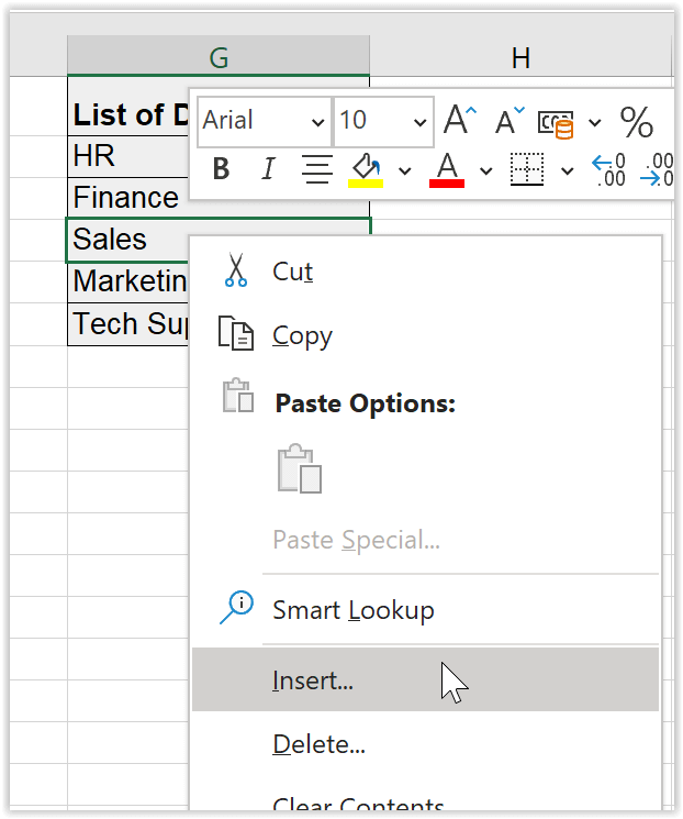 Right-click and choose Insert