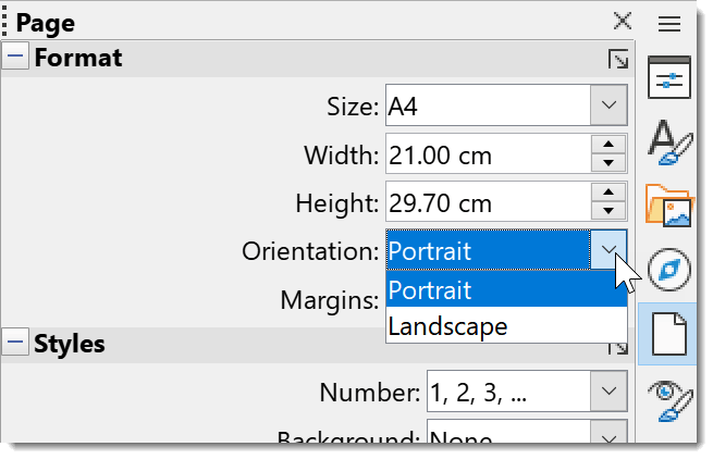 Change orientation od all pages using the sidebar in LibreOffice Writer