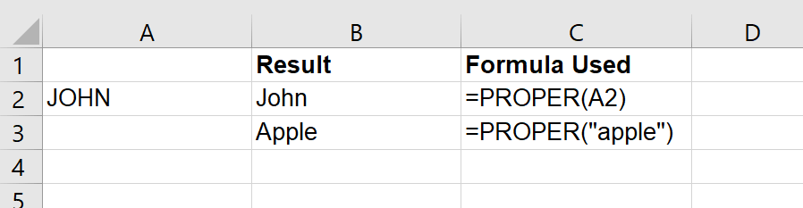 Just Click Here  Proper Function in Excel example