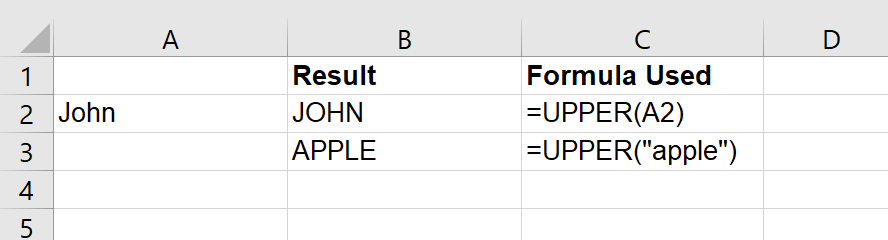 Just Click Here Upper Function in Excel example