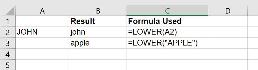 Just Click Here lower function in Excel example