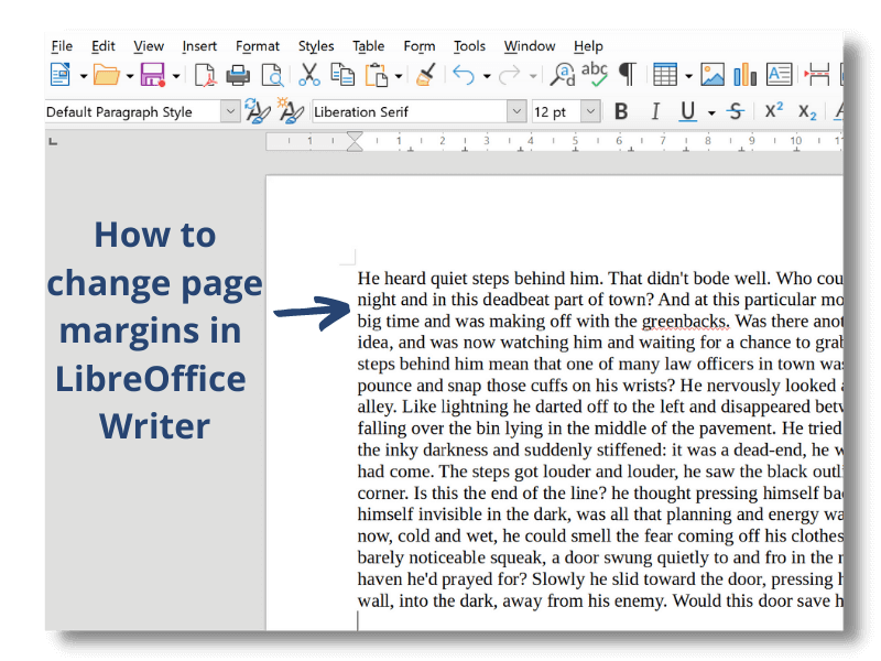 How to change or amend page margins in LibreOffice Writer