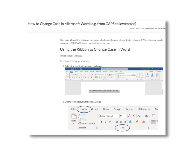 How to change case in Microsoft Word