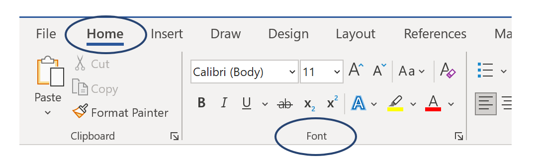 Home tab, Font group